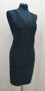 All Saints black metallic gold bandage dress size 12 full zip back Mai stretch