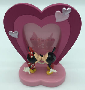 TOKYO DISNEY RESORT Mickey Minnie Mouse Kissing Picture Frame Pink Heart Love