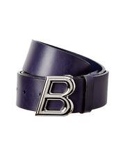 Bally Mens  B Oblique Men's Adjustable Leather Belt, 110, Blue