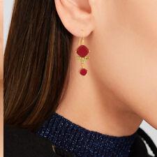 Ruby & Peridot Gemstone Dangle Earrings 925 Silver Unique Handmade Jewelry
