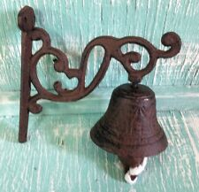 Door Bell Dinner Bell Wall Mount Black Cast Iron Rustic Vintage Old Fashion New
