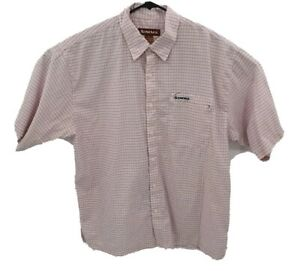 Simms Fishing 3XDry Mens Short Sleeve Button Down Shirt Sz XL Pink Plaid Travel