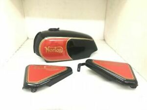 Norton Commando Roadster 750 Petrol FUEL Tank WITH Side Panel Black & Red