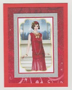 Blank Handmade Greeting Card ~ ANY OCCASION with GLAMOROUS LADY ON RED