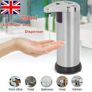 Auto Soap Dispenser Stainless Steel Hand Touch-Free Infrared Sensor Liquid 280ml