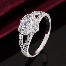 Charm Women  Silver Plated Crystal Love Heart Ring Bridal Wedding Party Jewelry