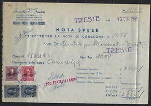 ITALY - 1951 TRIESTE DOCUMENT FRANKED WITH DA BOLLO & IMPOSTA AMG FTT VALUES