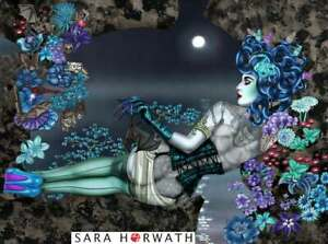 Medusa bats bat flowers Pin-up fine art Print Burlesque painted SARA HORWATH