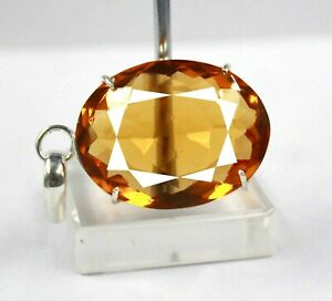 Certified Attractive 87.45Ct Yellow Citrine Pendant 925 Solid Sterling Silver R