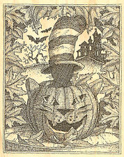 Halloween Cat In The Hat WoodMounted Rubber Stamp Impression Obsession G1967 NEW
