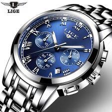 Superbe Montre Top Marque Homme LIGE Date Chronograph Etanche PRIX CASSE