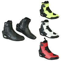 Motorbike Leather Shoes Full Protection Armour Anti Skid Rubber Sole Waterproof