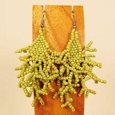 "2 1/2""  Green Color Bohmian Style Handmade Dangle Seed Bead Earring"