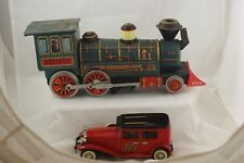 TIN TOYS- WESTERN STEAM ENGINE &  RED CRAGSTAN TOURING LIMO N-1929