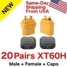 20 pairs Amass XT60H Connector Plug 3.5mm Gold Plated Plug Yellow Lipo W/ Caps