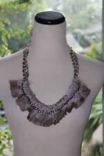 NWT Ann Taylor Loft Grey Ruffle Bib Chain Antique Copper Finish Necklace $44