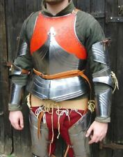 18GA Steel Medieval Upper Body Armor Breastplate Knight Cuirass Leather Punched