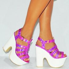 Ankle Cuff Platforms Chunky Block Heel Wedges Wedged High HEELS Size 3 4 5 6 7 8 Pink Hologram Strappy Uk5/euro38/aus6/usa7 Koi .hologram