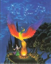 Mythical Magical Wizard Phoenix Forest Fantasy Kids Room Wall Art Print (16x20)