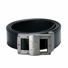 Versace Collection V91S174 VM00046 Men's Saffiano Leather Belt Black Later