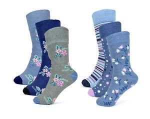 Foxbury Three Pairs of Ladies Diabetic Socks Floral Strips Flowers Soft Support