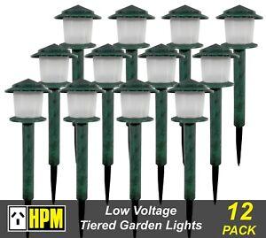 12 x HPM Mackay Tiered Garden Path Lights 12V 5W Low Voltage DIY Green Verdigris