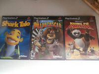 PS2 Lot of (3) Video Games Kung Fu Panda Shark Tale Madagascar All Complete