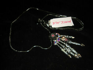 BETSEY JOHNSON HALLOWEEN HAND WITH SPIDER AND BLING LONG NECKLACE