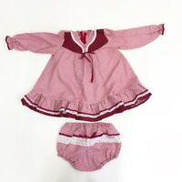 Vintage 2-Piece Prairie Toddler Dress Set Pink With Bloomers Ruffle Bottom Long