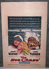 THE SEA CHASE original 1955 movie poster JOHN WAYNE/LANA TURNER/TAB HUNTER