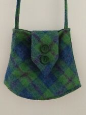 Harris Tweed Handbag Purse Scottish 100% Wool Tartan Plaid VTG Hippie Bright