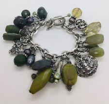 Stephen Dweck Sterling Silver Asian Motif Design Green Stone Charm Bracelet