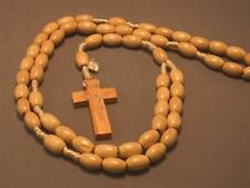 Christian Rosary Oval Wood Beads Silver Imprint Crucifix Necklace NATURAL FINISH