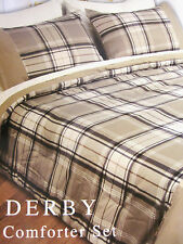 FULL - Beverly Hlls Polo Club - Beige Plaid Derby SHEET, SHAM & COMFORTER SET