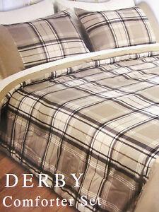 FULL - Beverly Hlls Polo Club - Beige Plaid Derby SHEET, SHAM & COMFORTER SET