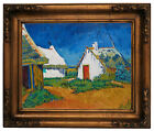 van Gogh Three white cottages in Saintes-Maries Wood Framed Canvas Repro 11x14