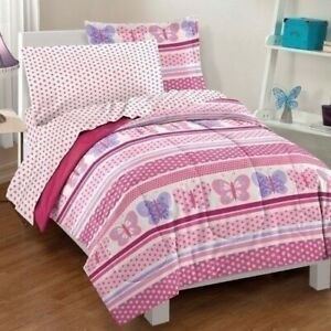 Girls Twin Full Bed Bag Pink Butterfly Polka Dot Stripe 7 pc Comforter Sheet Set