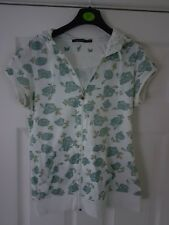 Lovely ladies size 12, white/mint flower print hoody top