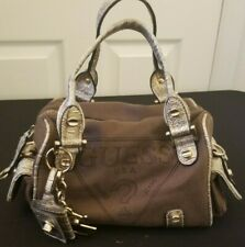 Brown GUESS purse with metallic accents