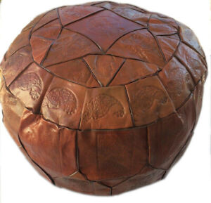 Egyptian Moroccan Handmade Genuine Leather Ottoman Pouf XL ( Empty )