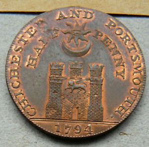 HAMPSHIRE - PORTSMOUTH HALFPENNY TOKEN 1794