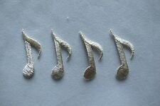 #2595S Lot 4Pcs Silver Music Note Embroidery Iron On Applique Patch