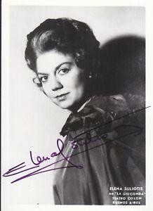 AUTOGRAPHED PHOTO OF OPERA SINGER Elena Suliotis soprano in La gioconda