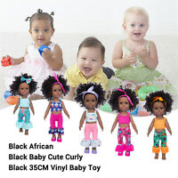 African Black Doll Silicone Vinyl Adorable LifelikeToddler Reborn Baby Doll Gift