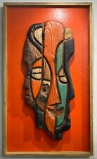 Rare Carved Wooden Art African Mask Cubist Modernist Sculpture Picasso-Style 70s