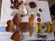 Vintage kitchen group lot 15+ retro wall clock,wooden s/p,monkey pod-snacks