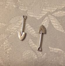 12 pc. shovel garden tool dig plant charm silvertone metal diy jewelry making