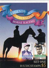 2007 STAMP BOOKLET LEGENDS AUSTRALIAN HORSE RACING (SET ONE) 10 x 50c STAMPS MUH
