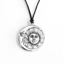 Sun Crescent Moon Face Charm Pendant Choker Necklace with Black Cord