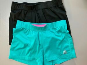 2 - Adidas Women's Climalite/Techfit Athletic Fit Shorts - One Teal, One Black.